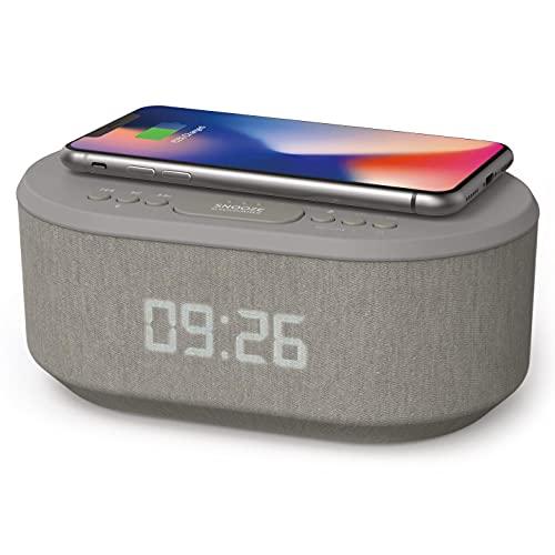 Radio Reveil Digital avec Chargement sans Fil Qi, Port de Chargement USB, Radio FM, Réveil Matin Enceinte Bluetooth, Double Alarme et Affichage à LED (Gris)
