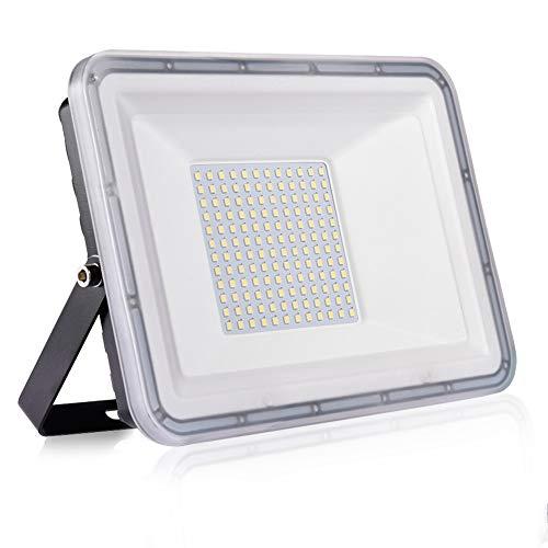 Faro LED da 100W Ultra sottile di sicurezza IP67 impermeabile 10000 lm Faretto LED da Esterno 6500K Luce Bianca Fredda per giardino, cortile, garage, parcheggio, magazzino [classe energetica A++]