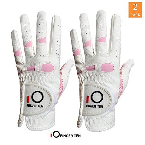 Guanti da golf da donna Extra Grip da 2 pezzi, Mano destra sinistra, All Weather 3D Performance...