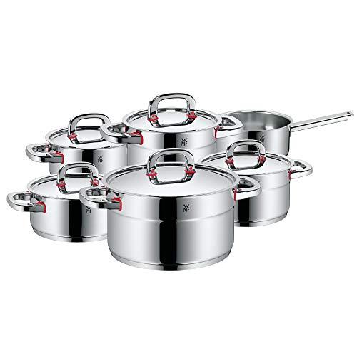 WMF Premium One - Set di pentole a induzione, 6 pezzi, con coperchio in metallo, acciaio INOX Cromargan lucido, pentole non rivestite, scala interna