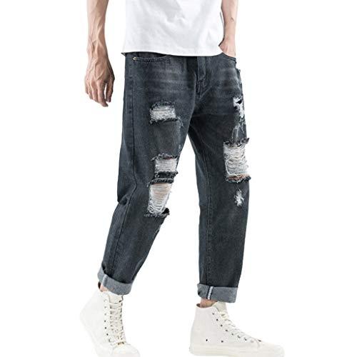 Pantaloni Uomo Jeans Strappati Larghi Salopette Nero Elasticizzati Regular Pantaloni di Jeans da Uomo Casual in Denim Bermuda Uomo Jeans Strappati,Jeans da Uomo Pantaloni Denim Moda Casual Skinny STR