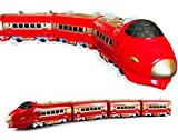 Haktoys Long Classical Train Battery Operated Bump-n-Go Ready to Play 28' Long Locomotive with Realistic Sound Effects, Great Gift