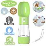 iiDesign Dog Treats and Water Bottle, Protable Pets Drinking Feeding Bottle for Walking and Hiking, Dog Outdoor Travel Water and Food Bottle (Green)