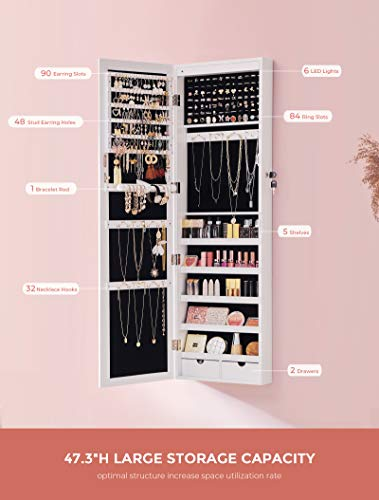 Product Image 5: SONGMICS 6 LEDs Mirror Jewelry Cabinet, christmas gifts for women, 47.3