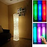61' Soft Light Floor Lamp,LEONC RGB Color Changing LED Tyvek Fabric Shade Modern Floor Lamp with...