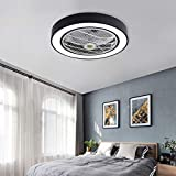Jinweite Ceiling Fan with Light, 22 inches LED Remote Control Fully Dimmable Lighting Modes Invisible Acrylic Blades Metal Shell Semi Flush Mount Low Profile Fan,Black