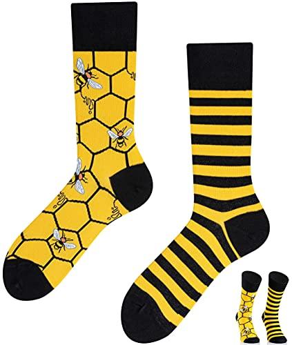 TODO COLOURS Calzini fantasia - Bee Bee - Calze divertenti - Ape, alveare, miele, prato, fiori (43-46, Ape)