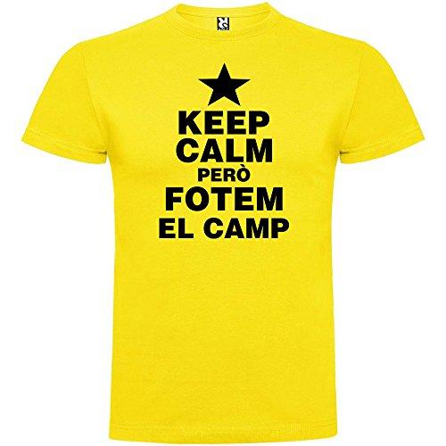 Camiseta Catalunya Keep Calm Pero fotem el Camp Manga Corta Hombre Amarillo M