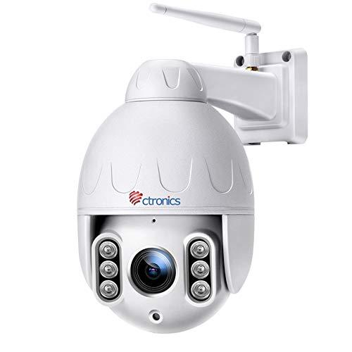 Telecamera Wifi Esterna senza fili, Ctronics 5MP PTZ IP Dome Telecamera di Sorveglianza, 5 X Zoom Ottico, Pan 360 °, Visione Notturna fino a 50m, Audio a 2 Vie, Motion Detection, Impermeabile 66