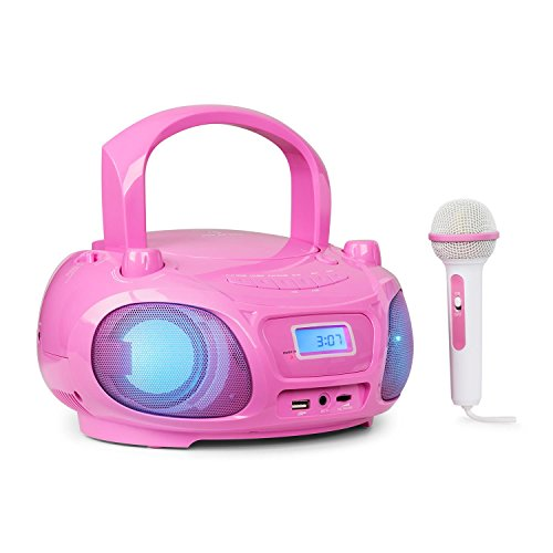 auna Roadie Sing - CD-MP3 Karaoke Player, Stereoanlage, Boombox, Sing-A-Long Funktion, USB-Port, UKW Radio, Bluetooth 3.0, LED-Beleuchtung, Netz- und Batterie-Betrieb, Mikrofon, pink