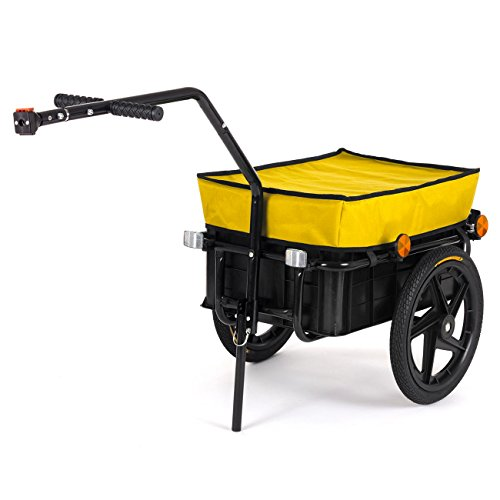 SAMAX Transportanhänger Fahrradanhänger Lastenanhänger Fahrrad Anhänger Handwagen mit Kunststoffwanne für 60 Kg / 70 Liter in Gelb - weitere Farben verfügbar