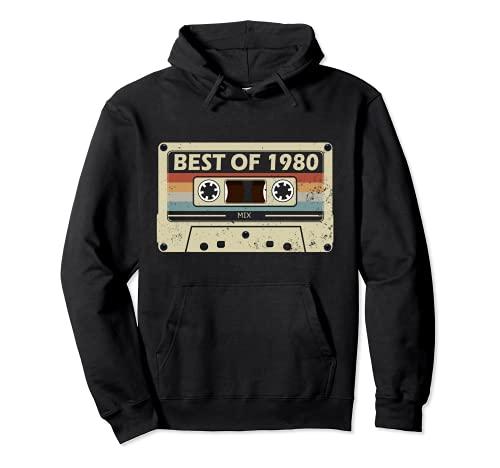 regalo di compleanno 41 anni musica cassetta Best of 1980 Felpa con Cappuccio