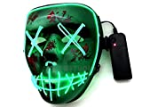 MASQSTUDIO The Purge LED Anarchy Purge Men and Women Boys and Girls Horror Purge Killer Masked Men Halloween Costume Party (Green)