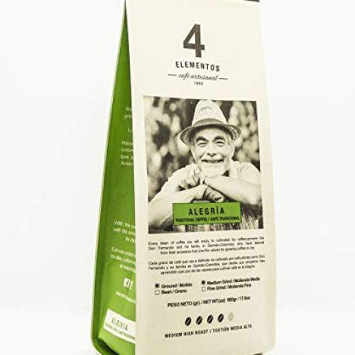 4 Elementos Alegria Artisanal Ground Coffee  Colombian Traditional