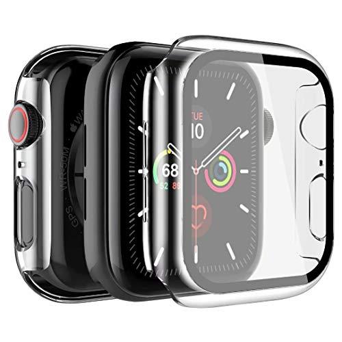 LK Custodia Compatibile per Apple Watch Series 6/SE/5/4 40mm Pellicola Protettiva, [2 Pezzi] Cover Rigida Vetro Temperato per Apple Watch Series 6/SE/5/4 40mm - Trasparente