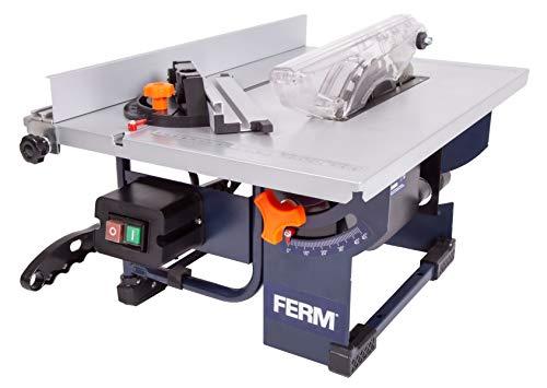 FERM Scie sur table 800W - Lame de scie Ø200mm 24 dents, guide d'onglet, guide parallèle, poussoir et connexion à vide inclus