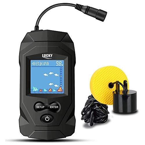 LUCKY Cercatore di Pesci da Pesca Portatile Marino Ecoscandagli con Trasduttore per Kayak Ecoscandaglio con sensore di profondit Display LCD per ecoscandagli per Barche per Pesca sul Ghiaccio