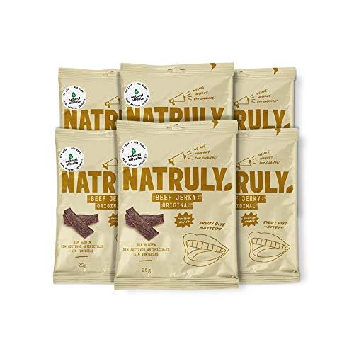 NATRULY Beef Jerky Original, Carne Seca 100% Vacuno, Sin Gluten, Sin Lactosa, Sin Azúcar, Sin Aditivos Artificiales -Pack 6x25g