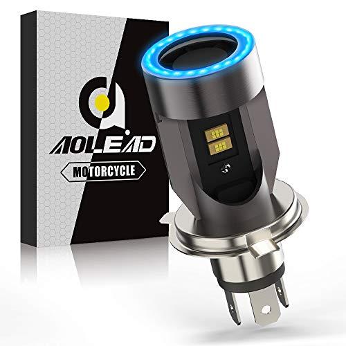 H4 LED per Moto con Occhi Angelo, 6400LM Lampada DC 12V, 1 Confezione