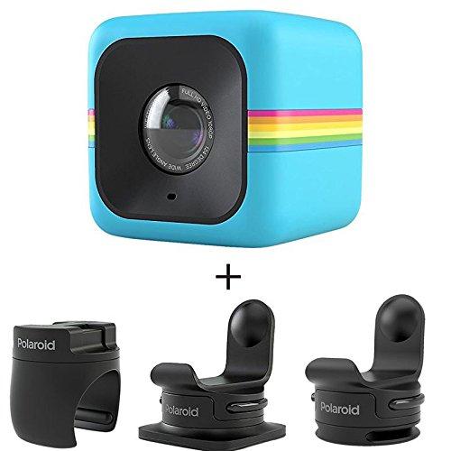 Polaroid ポラロイド POLC3 キューブ HD デジタルビデオアクションカメラ アクセサリーセット (青)(POLC3BL、POLC3HM、POLC3ST、POLC3BMセット)