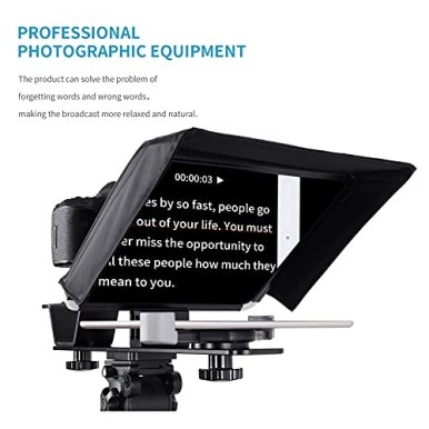 GVM-Teleprompters-for-ipad-Smartphone-Tablet-DSLR-Camera-Portable-105-Teleprompter-Kit-with-Remote-Control-AppSolid-Aluminum-ConstructionsColorless-SpectroscopeUltra-HD-Wide-Angle-Lens