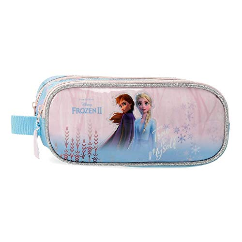 Disney Astuccio Due Scompartimenti Frozen True To Myself, Blu, 23x9x7