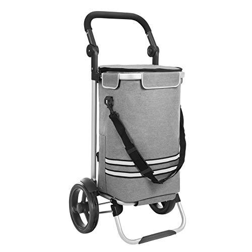 SONGMICS Einkaufstrolley, klappbar, Stabiler Einkaufswagen, mit Kühlfach, große Kapazität 35 L, multifunktional, Handwagen mit Rollen, abnehmbare Tasche, grau KST02GY