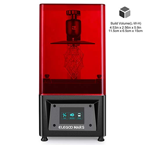 ELEGOO Mars UV Photocuring LCD 3D Printer with 3.5'' Smart Touch Color Screen Off-line Print 4.53in(L) x 2.56in(W) x 5.9in(H) Printing Size Black Version