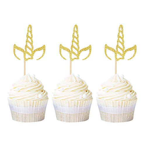 24 Pack Unicorn Horn Cupcake Toppers