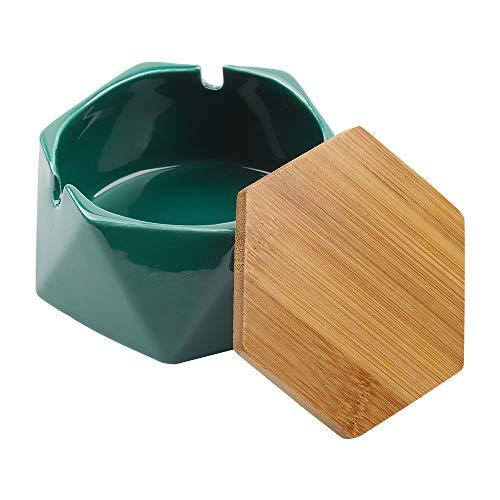Cenicero de cerámica con tapa, cenicero de cigarros para exteriores, casa, oficina, sala de estar (verde oscuro)