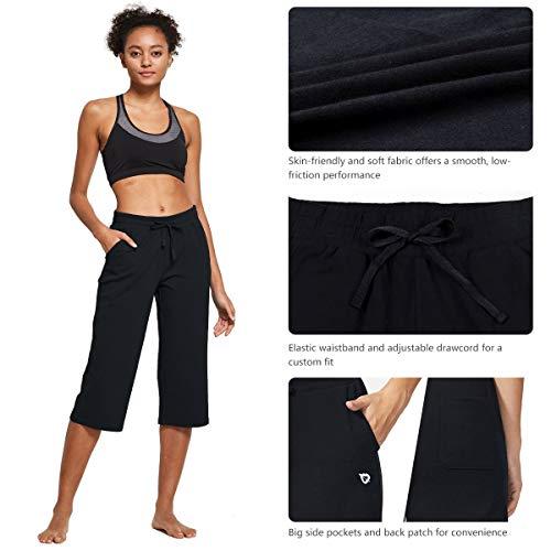 BALEAF Women's Active Yoga Lounge Indoor Jersey Capri Pocketed Walking Crop Pants Black Size L 7