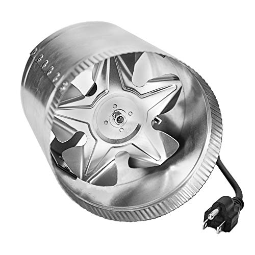 iPower GLFANXBOOSTER6-a 6 Inch 240 CFM Inline Duct Vent Blower Booster Fan for HVAC Exhaust and Intake 5.5' Grounded Power Cord, Low Noise, 6', Silver