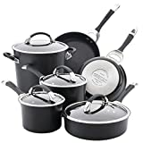 Circulon Symmetry Dishwasher Safe Hard Anodized Nonstick Cookware Pots and Pans Set, 10-Piece, Black