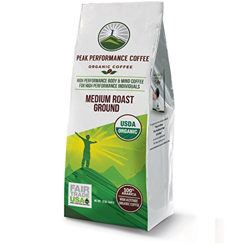 Peak Performance High Altitude Organic Coffee. Fair Trade, Non GMO, and Beans Full Of Antioxidants! Medium Roast Low Acid Smooth Tasting USDA Certified Organic Ground Coffee 12oz Bag