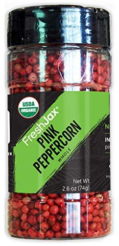 FreshJax Premium Organic Spices, Herbs, Seasonings, and Salts (Certified Organic Pink Peppercorn - Large Bottle)