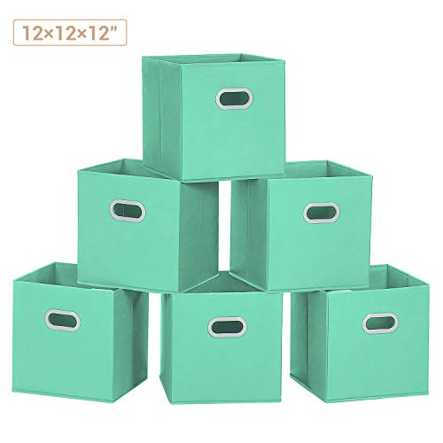 MaidMAX Storage Bins 12x12x12, for Home Organization and Storage, Toy Storage Cube, Closet Organizers and Storage, with Dual Plastic Handles, Cyan, Set of 6