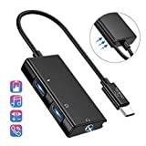 USB C to Headphone Adapter, 3 in 1 USB C to 3.5mm Audio with USB Type C Female Audio Port + PD Power Port, Built-in DAC Technology Ensure Stable for Galaxy Note 10 Aux Adapter (Black)