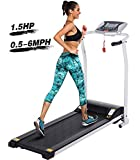 Tinfancy Folding Treadmills, Electric Foldable Treadmill with LCD Display, Heart Rate Sensor, Shock Absorption, Health& Fitness Exercise Walking/Running/Jogging for Home Gym or Office