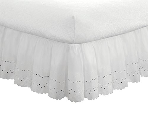 Fresh Ideas Bedding Eyelet Ruffled Bedskirt Classic 14 drop length Gathered Styling, California King, White