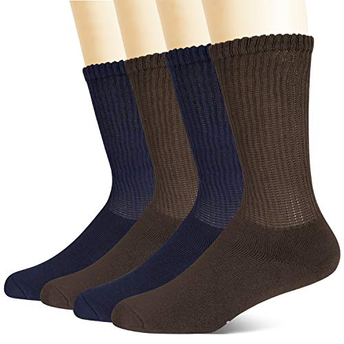+MD Calzini diabetici in bamb non impegnativi da uomo, confezione da 4 calzini circolatori a cuscino...