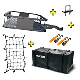 Mockins Steel Cargo Basket | 60' L X 20' W X 6' H Hitch Mount Cargo Carrier with Cargo Bag and Net | with a Hauling Weight of 500 lbs & a Folding Arm to Preserve Space When Not in Use