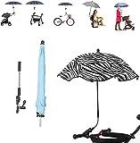 FHKSFJ Parasol Pliant Portable, Parasol de Plage avec Clip Universel, Parasol de Poussette réglable SPF 50+, Chaise de Plage, Fauteuil Roulant(Color:Zebra Pat,Size:One Size)