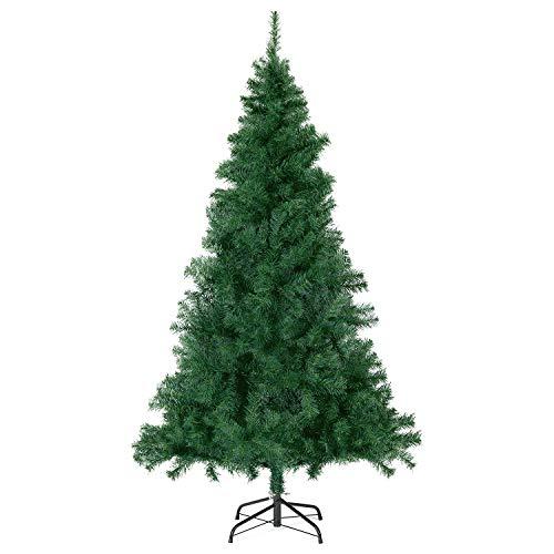 SALCAR Árbol de Navidad Artificial de 180 cm con 560 Puntas de Rama, Ignífugo, Abeto, Montaje Rápido, Soporte de Metal para Árbol de Navidad, Verde 1,8 m