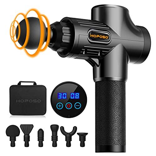 HOPOSO Massage Gun Deep Tissue,30 Speeds Handheld Muscle Massager,Musle Massage Gun with 6 Heads,Powerful Muscle Gun- LED Indicator Touch Screen (Black)