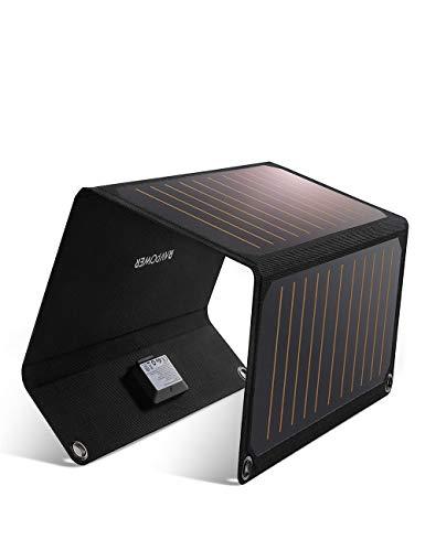 RAVPOWER Chargeur Panneau Solaire 21W, Chargeur Solaire 2 Ports USB + 4...