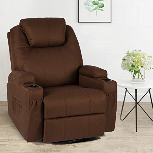 Esright Fabric Massage Recliner Chair 360° Swivel Heated Ergonomic Lounge Chair, Coffee