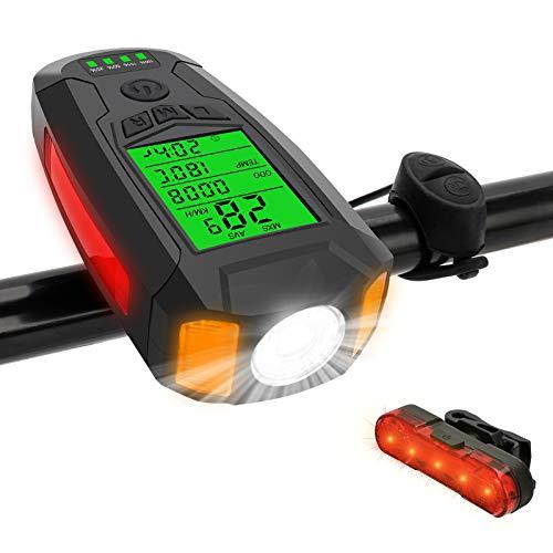 Furado LED Luce per Bicicletta Ricaricabile USB, Tachimetro, Luce Bici Anteriore E Posteriore Super Luminoso E Impermeabile per Bici Strada E Montagna, Sicurezza per Notte