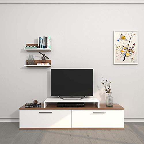 Homemania Mobile Porta TV Norma, Bianco-Legno, 150x30x39,5 cm - 40X17x10 cm