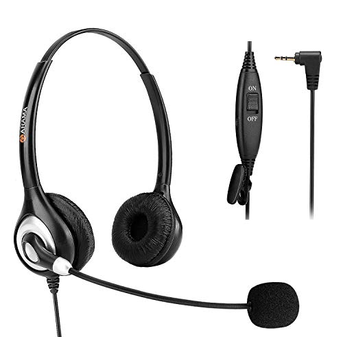 Phone Headset 2.5mm, Telephone Headset with Noise Canceling Mic for AT&T Panasonic Vtech Uniden Cisco Grandstream Polycom and Cordless Dect Phones