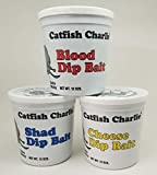 Catfish Charlie Dip Bait Variety Pack, Blood, Shad, and Cheese, 12 oz